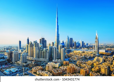 Amazing view on Dubai futuristic skyline, Dubai, United Arab Emirates