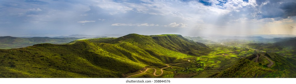 Amazing view on green mountains from a viewpoint in Lalibela