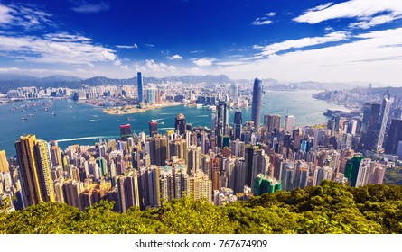Amazing view on Hong Kong city skyline from the Victoria peak, China