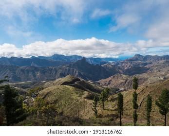 Amazing view on mountains, Caldera and Barranco de Tejeda and Roque Bentayg rock from Cruz de Tejeda Viewpoint. Gran Canaria, Canary Islands, Spain