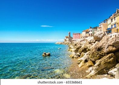 Amazing view on the Piran Coast, Gulf of Piran on the Adriatic Sea, Slovenia