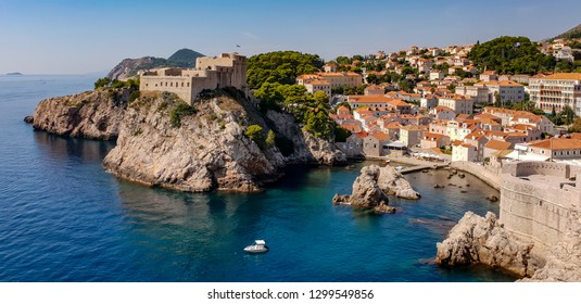 Amazing view on the sea from the fortress walls of Dubrovnik, Croatia, with its historical old town on a sunny summer day