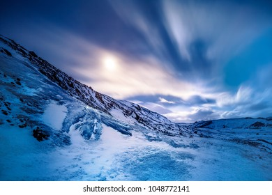 Amazing view on the Solheimajokull glacier, iced mountain covered with snow, beautiful winter landscape, Myrdalsjokull, Iceland, Scandinavia, Europe