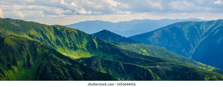 Amazing view on Tatras green mountains from a viewpoint in Kasper Peak, Carpathian
