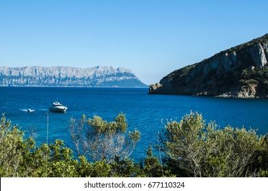 Amazing view on Tavolara Island from Cala Moresca. Golfo Aranci, Sardinia, Italy