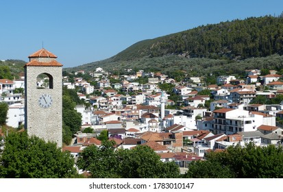 Amazing view on Ulcinj town in Montenegro. Clock Tower of Ulcinj (Sahat Kulla). Lami Mosque. Ulcinj is a popular tourist destination in the summer on the southern Adriatic coast of Montenegro. Ulqin.