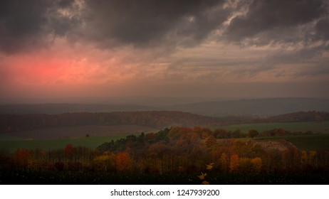 Amazing view over the valley at sunset
