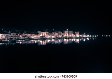 Amazing view of the port and the city of Mytilene at night.Mytilene is the capital and port of the island of Lesvos and also the biggest island of the North Aegean.