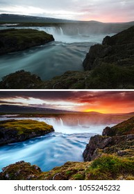 Amazing view of powerful Godafoss cascade. Location Bardardalur valley, Skjalfandafljot river, Iceland, Europe. Images before and after. Original or retouch, example of photo editing. Beauty of earth.