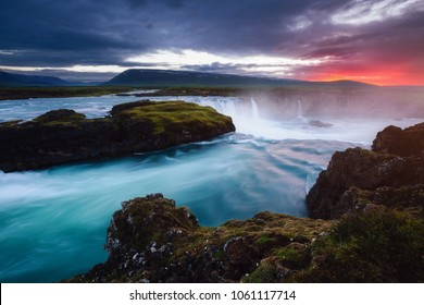 Amazing view of powerful Godafoss waterfall cascade. Location Bardardalur valley, Skjalfandafljot river, Iceland, Europe. Scenic image of beautiful nature landscape. Awesome wallpapers. Beauty earth.