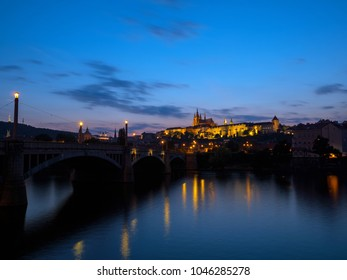 Amazing view of Prague town, Vltava river and Vitus Cathedral at late evening in Prague, Czech Republic