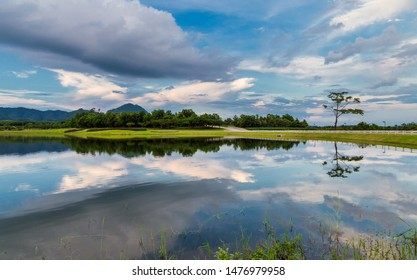 Amazing view of reflection lake in Boonrod farm, Chiangrai, Thailand