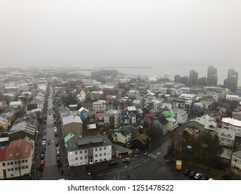 Amazing view of Reykjavik Iceland from above in a cloudy day.