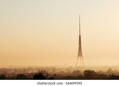 Amazing view of Riga Radio and TV Tower during the sunrise, Latvia