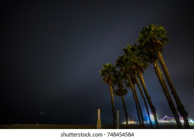 Amazing view of Santa Monica beach boardwalk at night