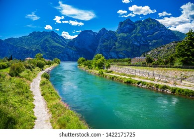 amazing view of the Sarca river in the town Nago-Torbole, lake Garda, Italy