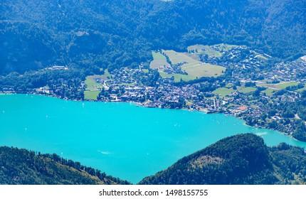 Amazing view from Schafberg by Sankt Wolfgang im Salzkammergut on lake Wolfgangsee, St. Sankt Gilgen, Zwolferhorn. Upper Austria (Oberosterreich), Salzburg