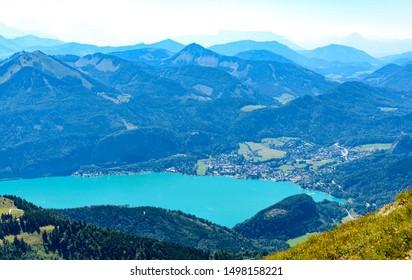 Amazing view from Schafberg by Sankt Wolfgang im Salzkammergut on lake Wolfgangsee, St. Gilgen, Zwolferhorn. Upper Austria (Oberosterreich), Salzburg