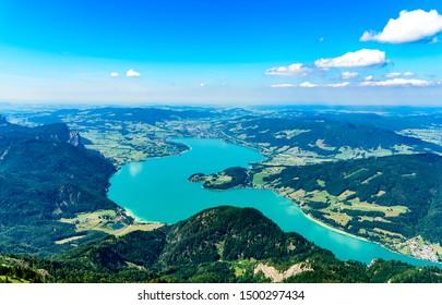 Amazing view from Schafberg by Sankt Wolfgang im Salzkammergut on lake Mondsee (moonlake, moon). Upper Austria (Oberosterreich), Salzburg.