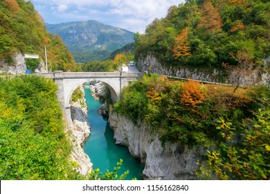 Amazing view of Soca (Isonzo) river and Napoleon's bridge near Kobarid (Caporetto) Slovenia. Soca river and Kobarid - popular place for active recreation in Julian Alps and place of World War I memory