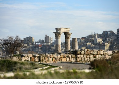 Amazing view of some magnificent columns in the Amman Citadel, Jordan. The Amman Citadel is a historical site at the center of downtown Amman, Jordan