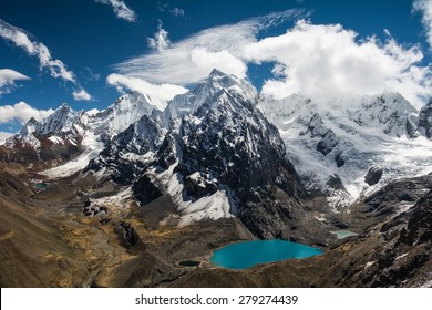 Amazing view in spectacular high mountains, Cordillera Huayhuash, Andes, Peru