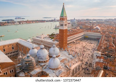 Amazing view of St. Mark's Basilica above the San Marco square in Venice, Italy