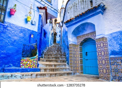 Amazing view of the street in the blue city of Chefchaouen. Location: Chefchaouen, Morocco, Africa. Artistic picture. Beauty world