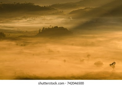 Amazing view of sunrise on valley at Phu Lang ka, Thailand