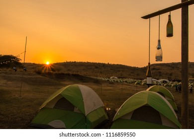 An amazing view of sunset while glamping at Sulafest in the evening