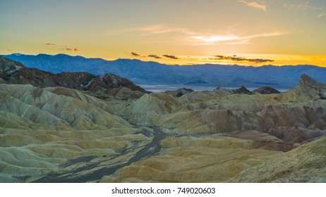 Amazing view of sunset at Zabriskie point, Death valley national park