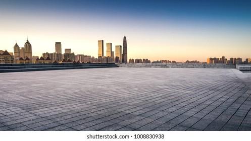 Amazing view to Suzhou City Center at sunset
