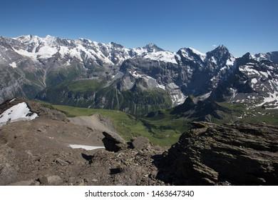 Amazing view of Swiss Alps, Jungfrau mountain range from schilthorn, Murren, Switzerland