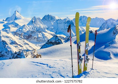Amazing view of swiss famous moutains in beautiful winter snow. The matterhorn and the Dent d'Herens. In the background Castor and Pollux.