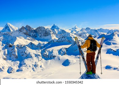 Amazing view of swiss famous moutains in beautiful winter snow. The matterhorn and the Dent d'Herens.  In the foreground the Grand Desert glacier, view mrom Mt Fort