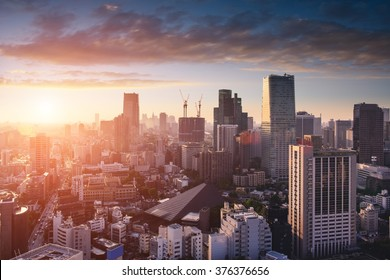 Amazing view to Tokyo City Center at sunset