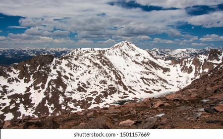Amazing view from top of Mount Evans , Colorado. The highest peak in the namesake Mount Evans Wilderness in the Front Range of the Rocky Mountains of North America.