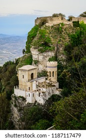 Amazing view of Torretta Pepoli Castle, situated on Erice Mountain, built by Agostino Pepoli. Landscape shot in Erice, Sicily, Italy. Fortress with towers on hill, near Trapani.