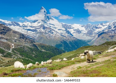 Amazing view of touristic trail near the Matterhorn in the Swiss Alps