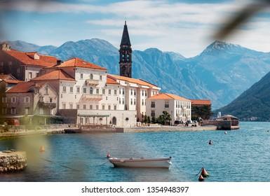 Amazing view of town of Perast at Bay of Kotor.Montenegro