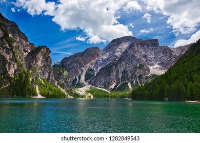 amazing view of turquoise Lago di Braies Lake or Pragser Wildsee in Dolomite mountains , Italy.