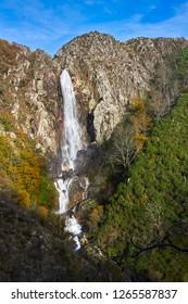 Amazing view for waterfall in Serra da Freita, Arouca Geopark, Portugal