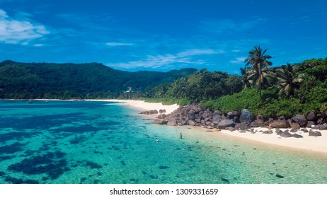 Amazing View to the White Sand Beach of the Paradise Island, Mahe, Seychelles