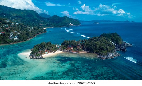 Amazing View to the White Sand Beach and Mountains of the Paradise Island, Mahe, Seychelles