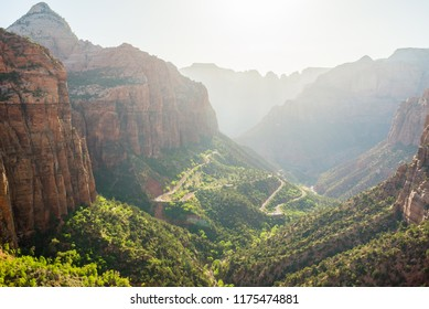 The amazing view of Zion canyon from Canyon overlook trail in Zion National park.