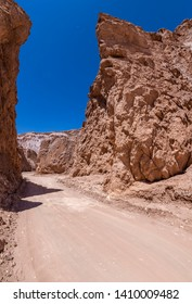 Amazing views of Death Valley canyon at Atacama Desert the dry water is transformed onto salt flats inside the valleys of this awe canyon in between Atacama arid landscape. Amazing desert wild scenery