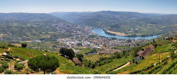 Amazing views of Douro vineyards from Sao Anthony (Peso da Regua) viewpoint in Portugal