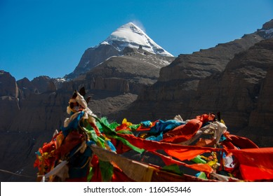 Amazing views during the first day of ritual kora (yatra) around sacred Mount Kailash. Ngari scenery in West Tibet. Sacred place for Buddha pupils. Place of prayer, calm, pilgrimage and meditation.