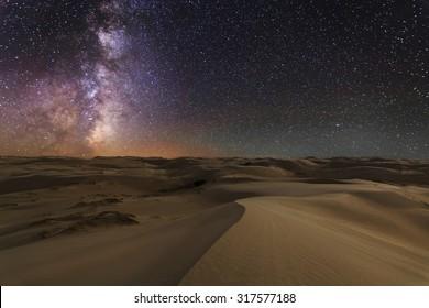 Amazing views of the Gobi desert under the night  starry sky.