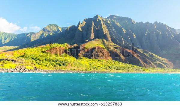 Amazing Views Na Pali Coast Boat Royalty Free Stock Image
